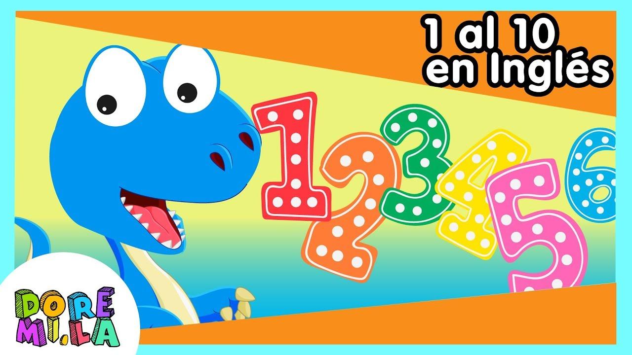 Números Del 1 Al 10 En Inglés Con Dinosaurios Cantando Youtube
