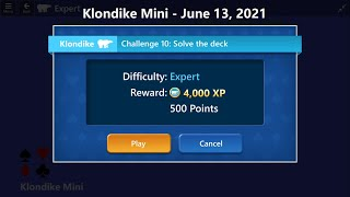 Klondike Mini Game #10 | June 13, 2021 Event | Expert screenshot 2