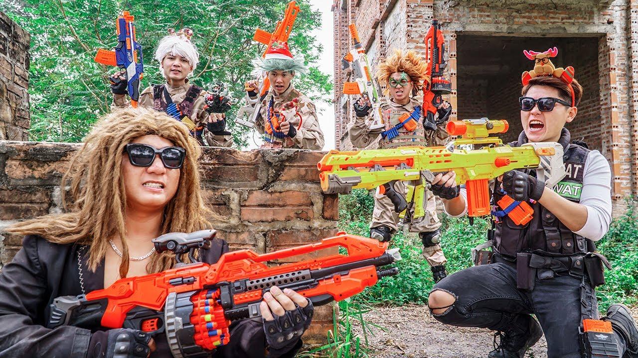 LTT Game Nerf War : Captain Warriors SEAL X Nerf Guns Fight Crime Bandits Diamond Rocket Crazy