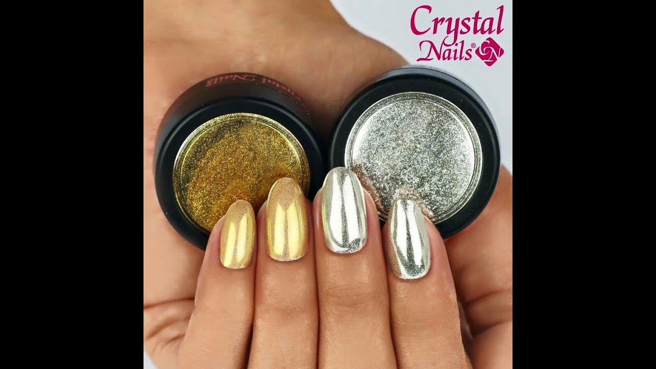 Gold and Silver Chrome Nails with ChroMirror Chrome Pigment Powders ...