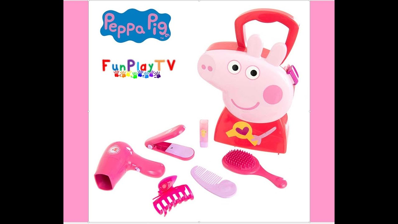 Peppa Pig Hair Case - Peppa Pig Hair Style Set Toy Video Peluquería de Peppa Pig toys juguetes