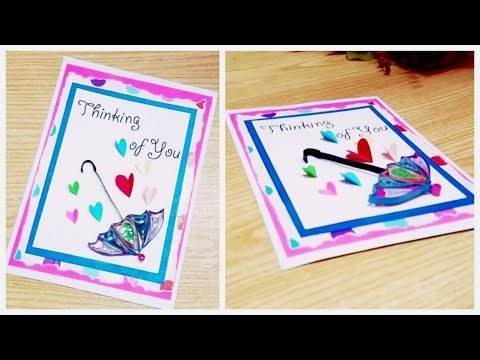 Handmade Greeting Card with Paper Quilling Umbrella/Diy Greeting Card design