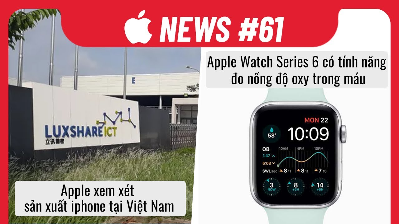 Apple News 61: Apple Xem Xét Sản Xuất iPhone Tại VN, Apple Watch S6 Đo Được Oxy Trong Máu
