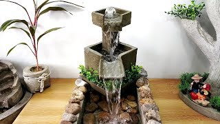 How to make amazing beautiful very good cemented waterfall fountain water fountain