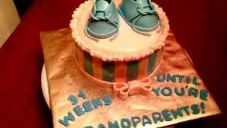 Baby Surprise to Grandparents Announcement Cake