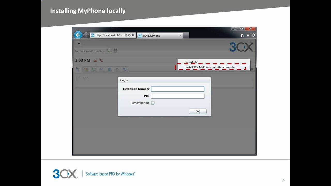 Installing 3CX MyPhone desktop components