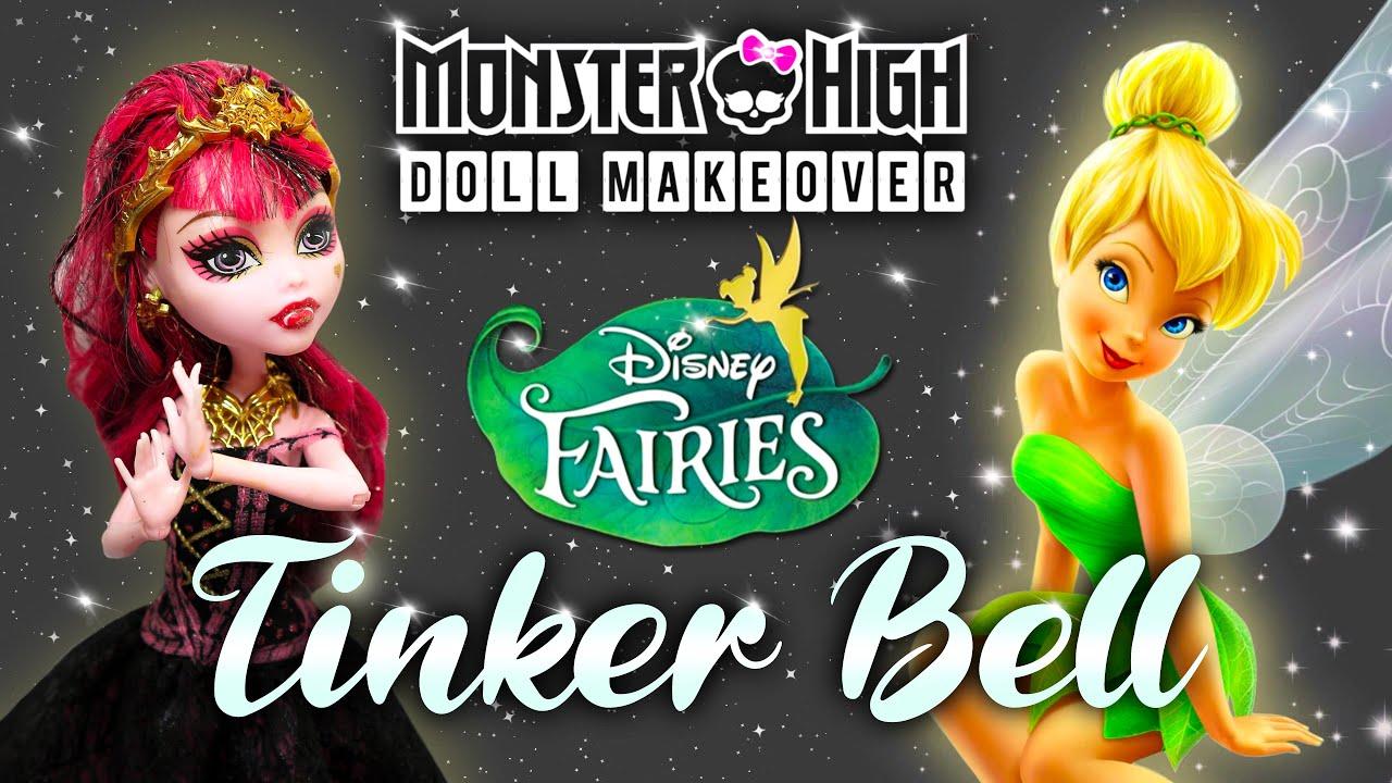 Making TINKER BELL DOLL / DISNEY FAIRY / Monster High Doll Repaint by Poppen Atelier