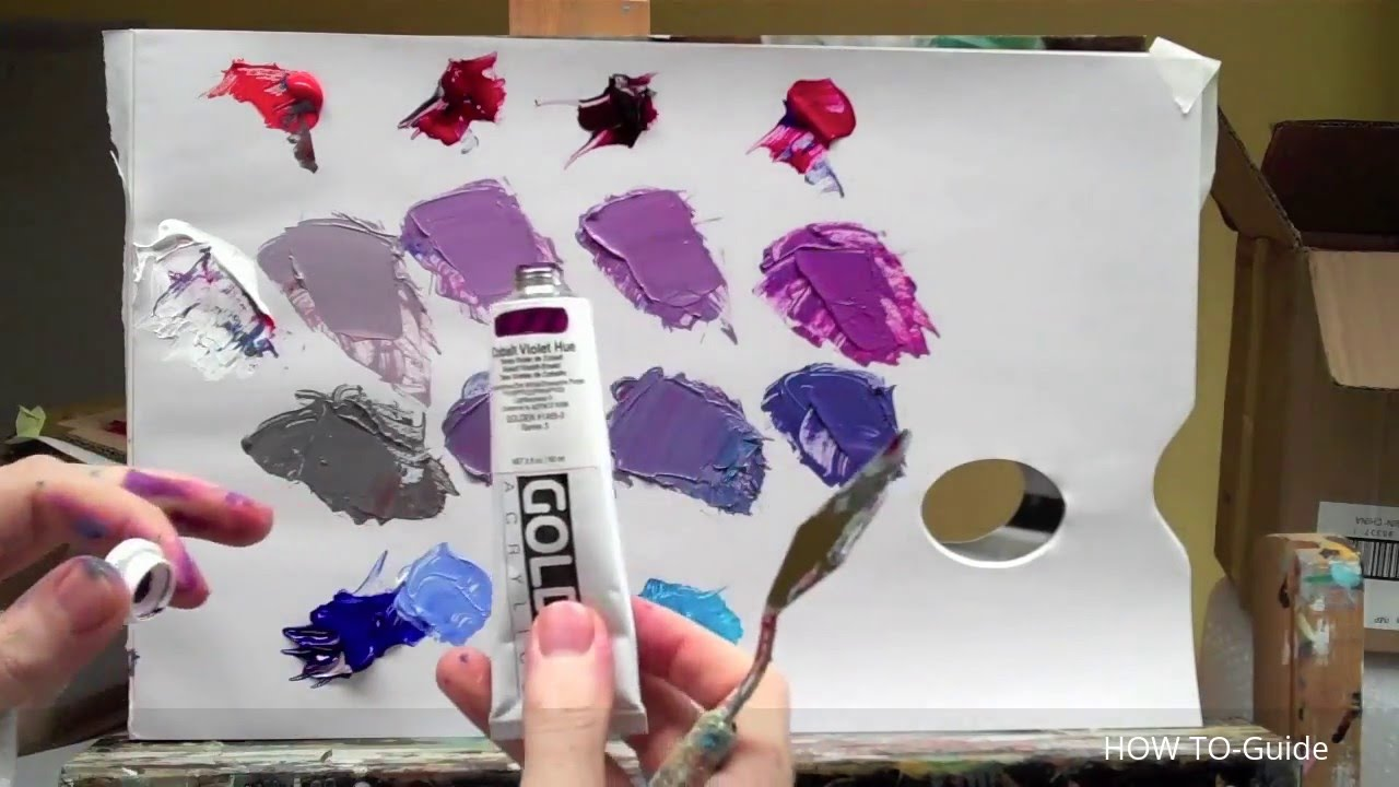 how to mix acrylic paint to get purple color