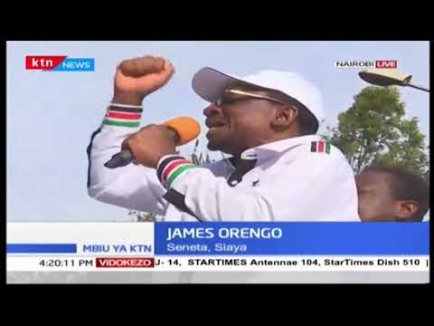 Senator James Orengo addresses crowd following Raila Odinga
