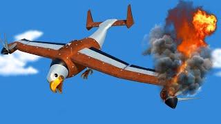 АнимаКары - ОРЁЛ САМОЛЁТ терпит крушение на пляже - мультфильмы для детей с машинами и животными