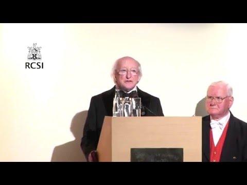 Uachtarán na hÉireann, Michael D Higgins speaks at the 2016 RCSI Charter Day Dinner