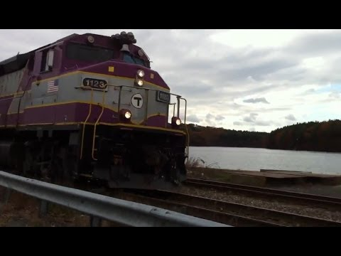 Outbound MBTA Commuter Rail at Crystal Lake, Wakefield, MA