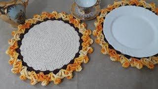 Lindo Sousplat de Crochê com Borda 3D