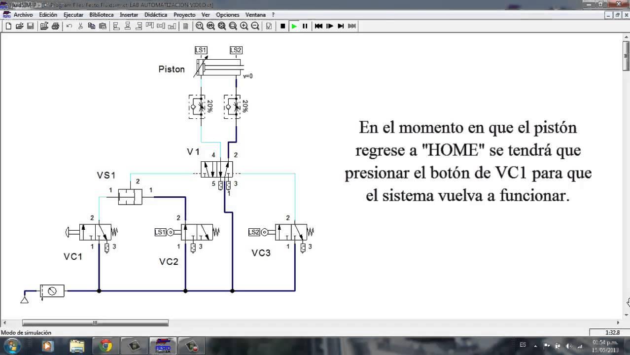 Circuito Neumatico : Circuito neumatico con fluidsim youtube