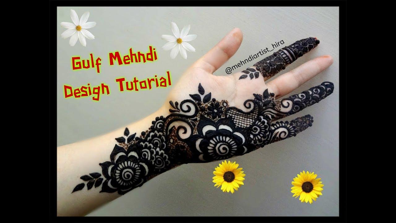 Dubai Arabic Mehndi Henna Design: Beautiful Khaleeji Dubai Gulf Arabic Palm Henna Mehndi