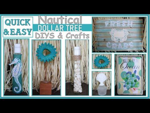 SUMMER DOLLAR TREE DIYS | NAUTICAL DECOR | Quick And Easy Crafts!