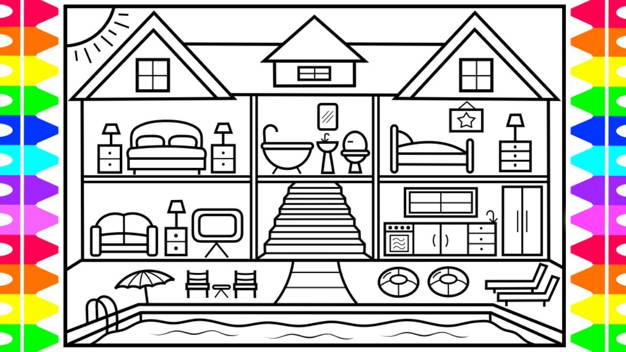 How to draw a house with a swimming pool house with a for Pool design drawings