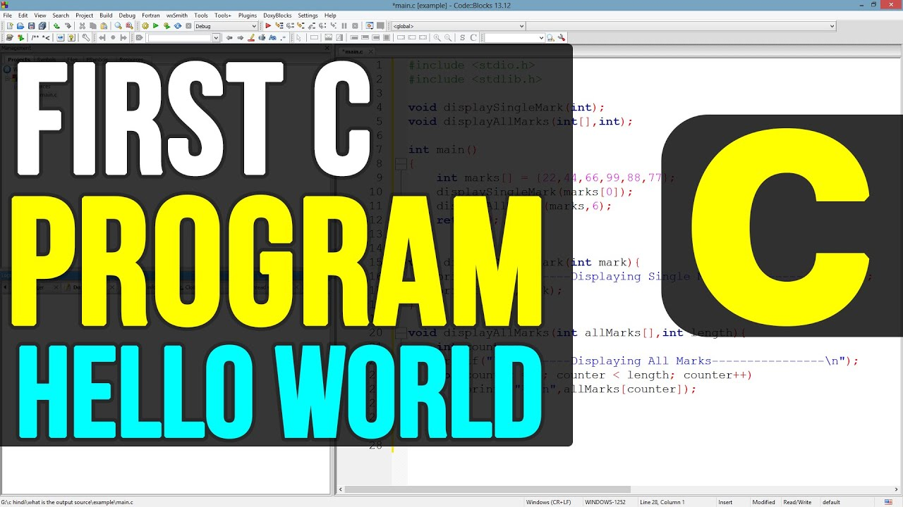 C Programming 8 - Creating Hello World program