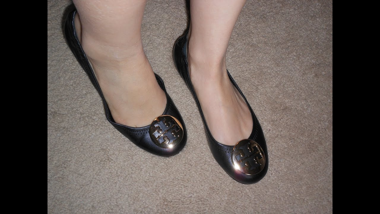 abd155393 Tory Burch black leather reva flats review - YouTube