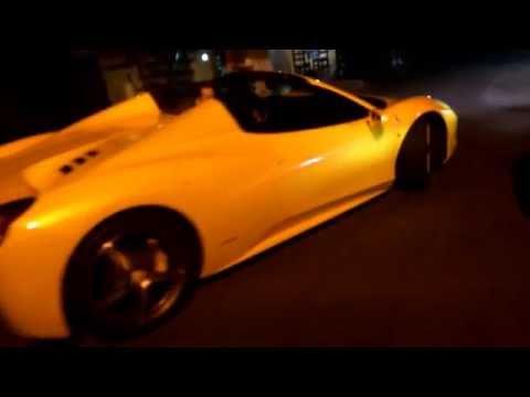 Yellow Ferrari 458 Italia in Kiev, restaraunt Safe | Желтая Феррари 458 в Киеве возле ресторана Сейф