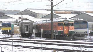 2020年初積雪のJR長野総合車両センター 相鉄10000系、115系訓練車にも雪が・・2020.1.5 JR長野総合車両センター   panasd 1523
