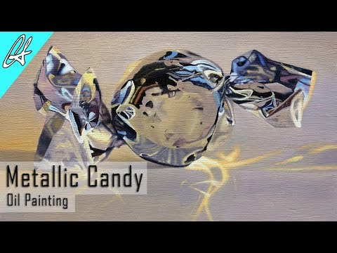 Realism Demo: Oil Painting a Metallic Shiny Candy by professional painter