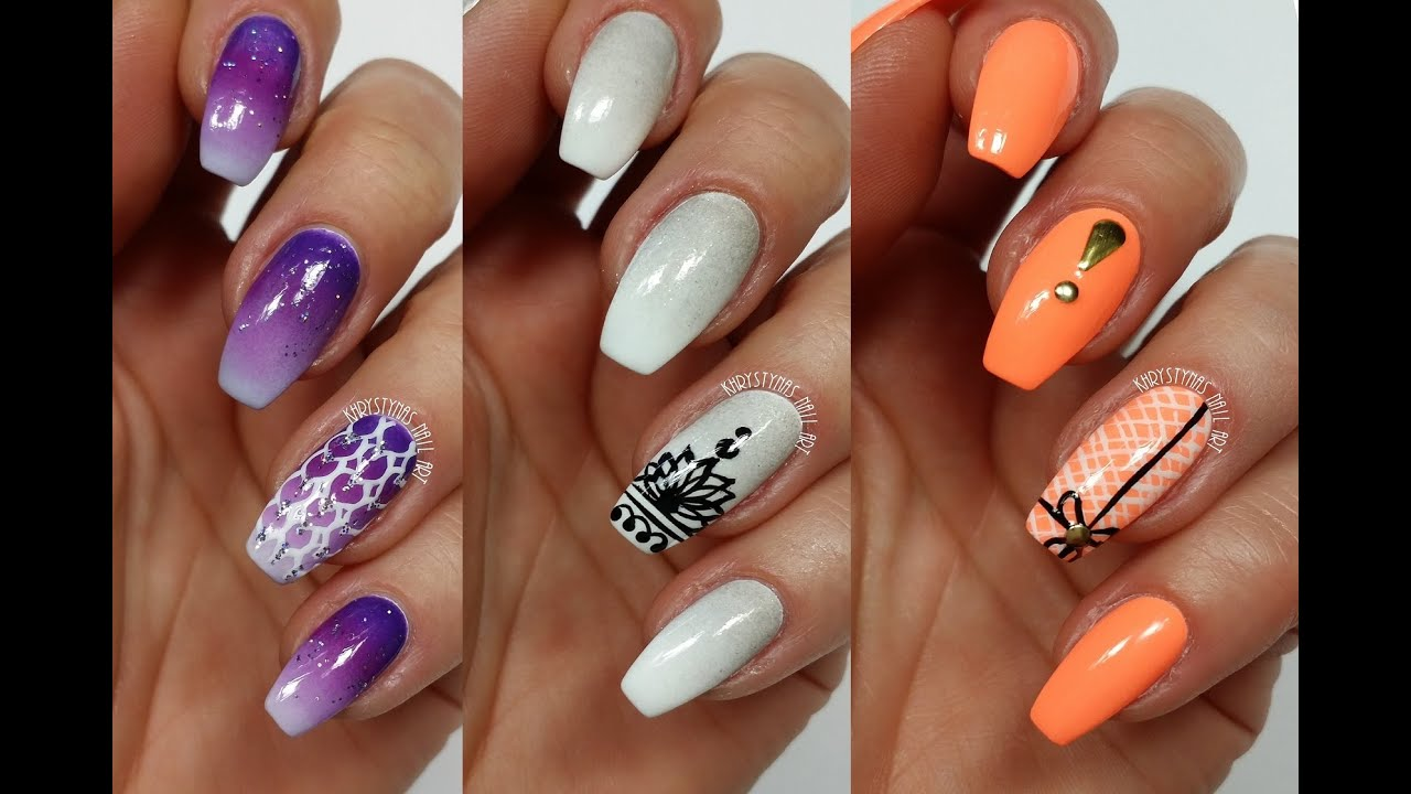 3 easy accent nail ideas freehand