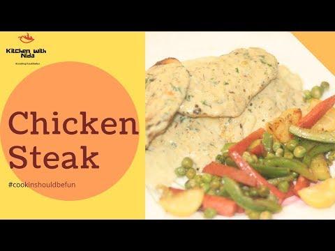 Chicken Steak With White Sauce Recipe   Home Made Steak   Kitchen With Nida