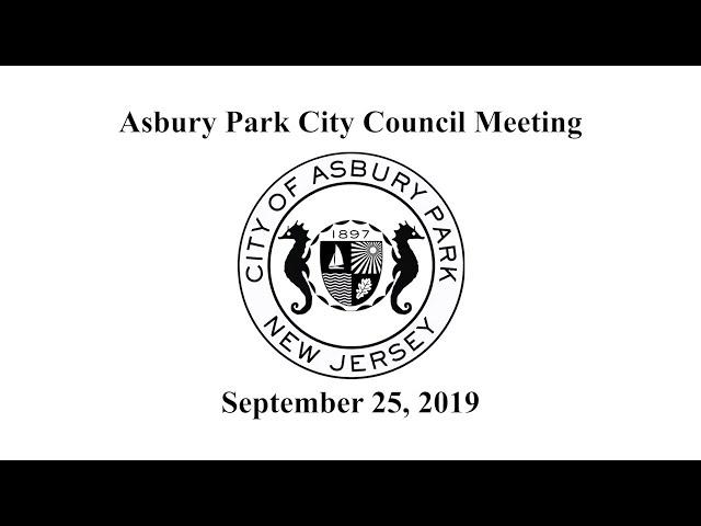 Asbury Park City Council Meeting - September 25, 2019
