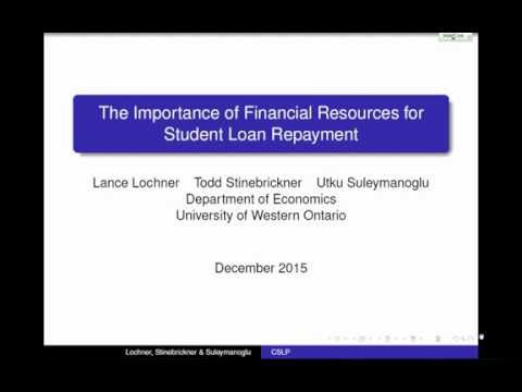 Lance Lochner, Western University: The importance of financial resources for student loan repayment