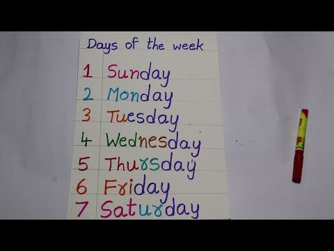 Days Of The Week   Learn Days Of The Week With Spelling