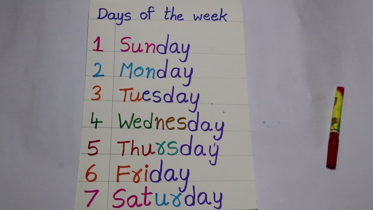 Download Days of the Week   Learn Days of the week with spelling