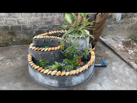 Beautiful Fish Tank For Garden Decoration _ Unique Combination Of Cement Stone And Brick