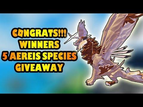 Download Congrats Winners 5 Aereis Species Giveaway - Creatures of Sonaria [Part 2]