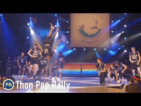 Penn State football freshmen dance in Thon pep rally