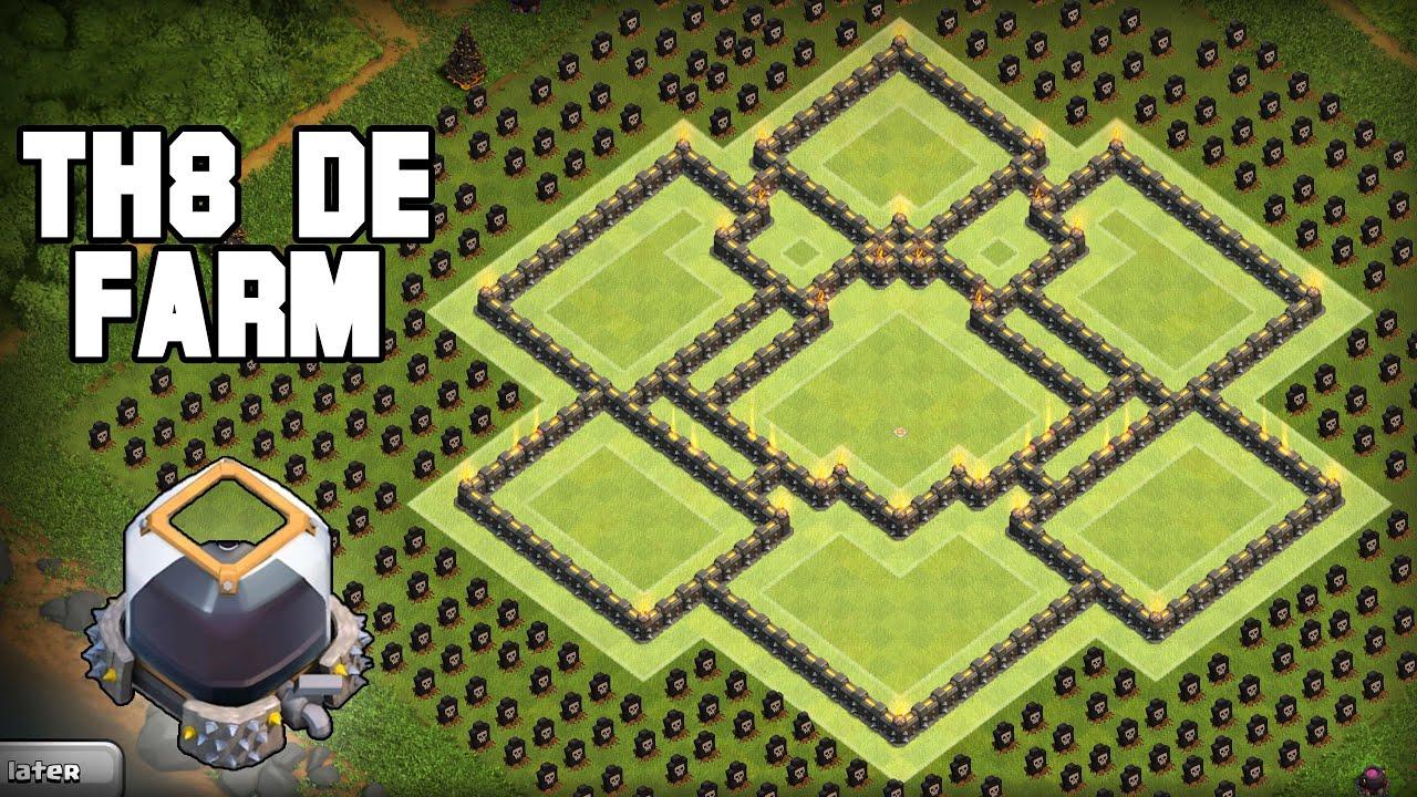 Coc th8 base design - Clash Of Clans Th8 De Farming Base Best Coc Town Hall 8 Defense 2016 Th8 Base Youtube