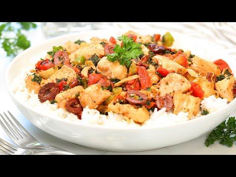 Mediterranean Chicken & Rice | 20 Minute Dinner Idea | Healthy + Easy Recipes