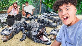 Last To Leave Alligator Pit Wins $10,000 Challenge