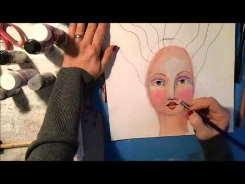 How To Paint a Mixed Media Face Butterfly Flower Child