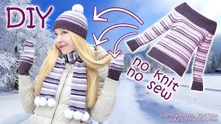 DIY NO KNIT Hat, Mittens and Scarf Out Of a Sweater (NO KNIT & NO SEW) – No-knit Knit Kit Tutorial