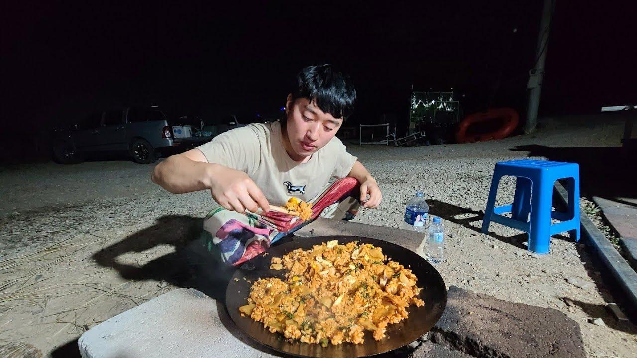 갑오징어 잡아서 솥뚜껑에 볶아먹기~  아재의 일상 Vlog. Cuttlefish mukbang