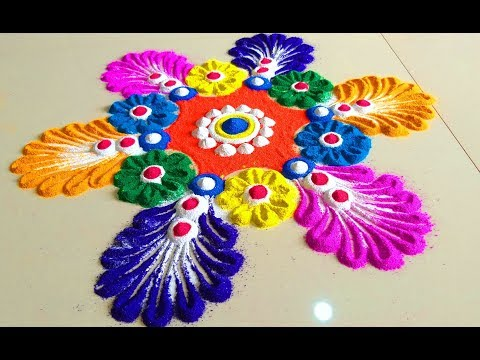 Very Simple and Beautiful Latest Colorful Rangoli Designs -
