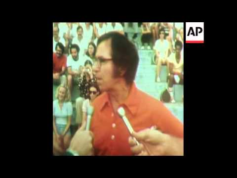 SYND 23-9-73 RIGGS INTERVIEW AFTER BATTLE OF SEXES MATCH AGAINST BILLIE JEAN KING IN ATLANTA
