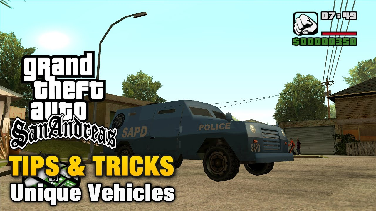 Gta San Andreas Tips Tricks Unique Vehicles Youtube