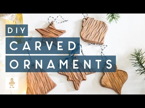 DIY Rustic Carved Wood Ornaments