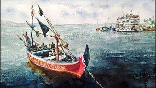 CARA MELUKIS CAT AIR: Perahu (tutorial lukisan bahasa Indonesia)