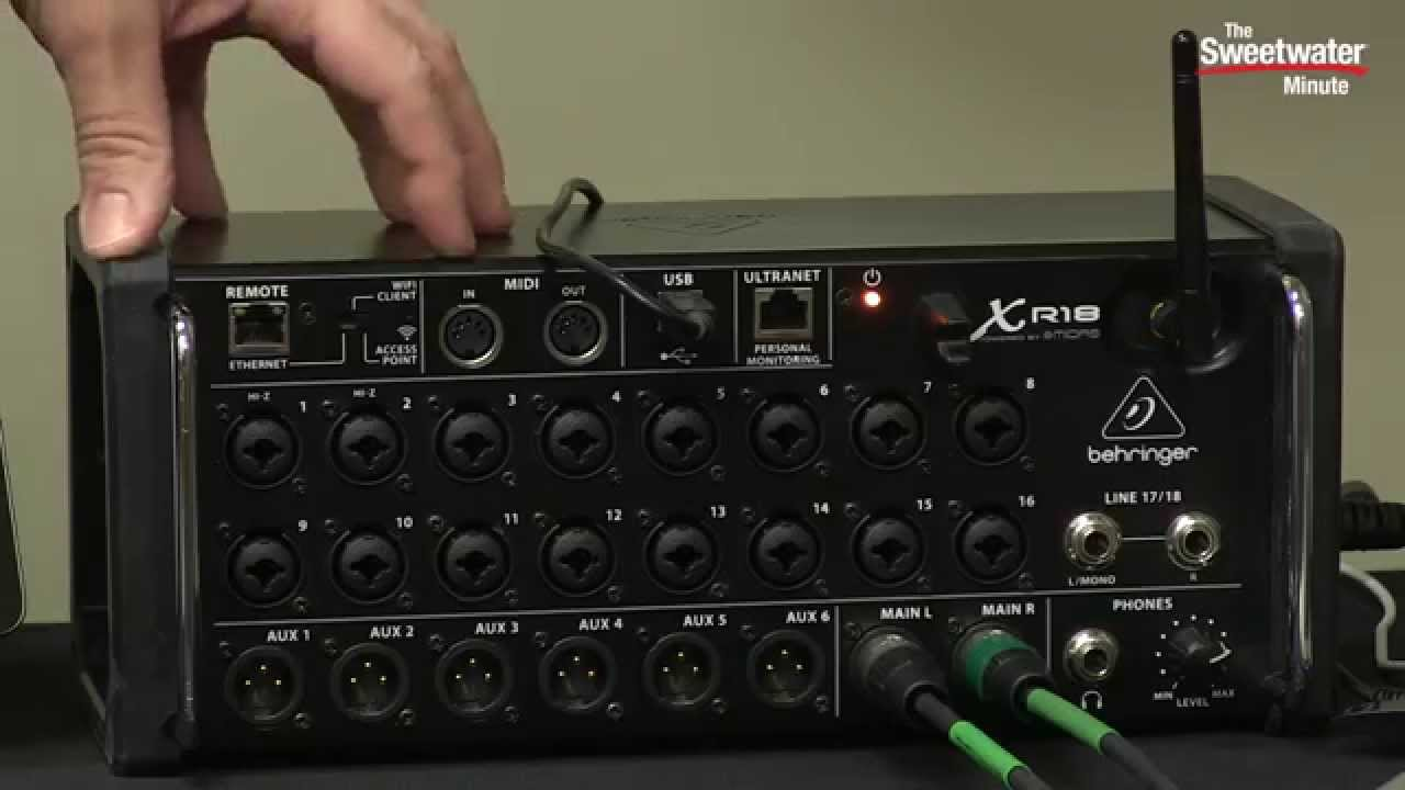 behringer xr18 x air digital mixer review by sweetwater doovi. Black Bedroom Furniture Sets. Home Design Ideas