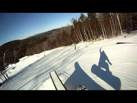 Snowboarding slopestyle freestyle Sunapee Mountain New Hampshire