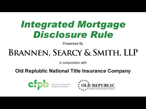 CFPB Integrated Mortgage Disclosure Rule