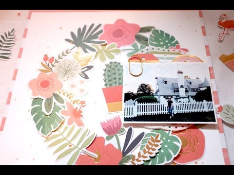 "My Mind's Eye ""Palm Beach"" Floral Scrapbook Layout /// Memory Keeping Monday"